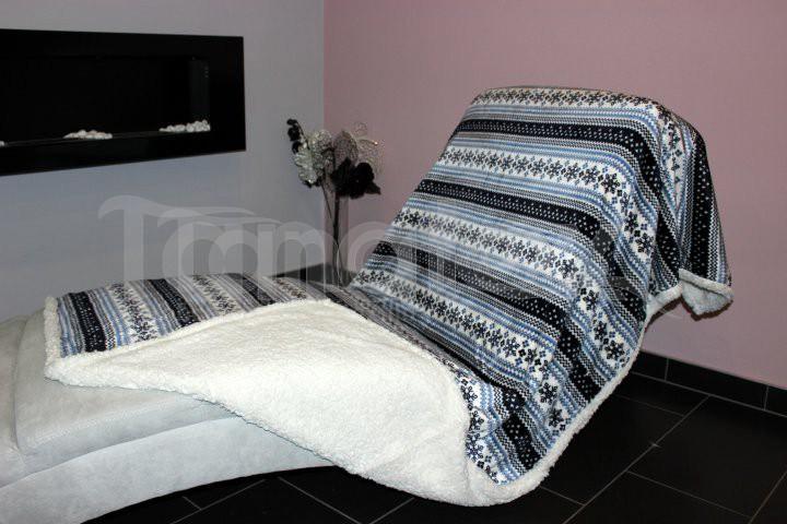Deka Mikro s beránkem - zima modrá - Přehoz na postel a deky Deky 150x200