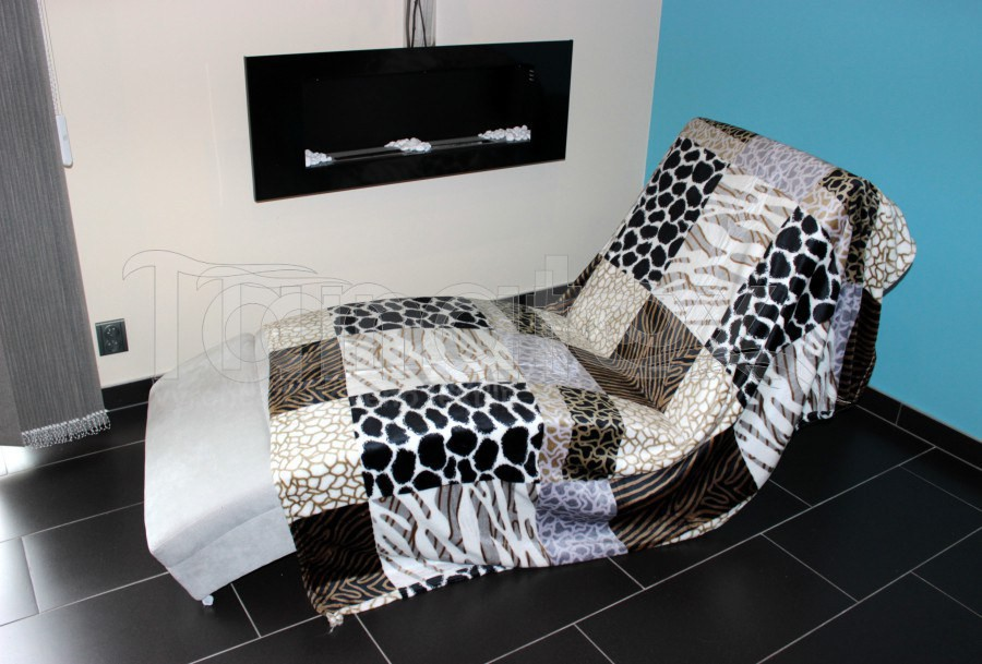 Deka Mikro - 200x220 hnědé a šedé tvary - Přehoz na postel a deky Deky 200x220