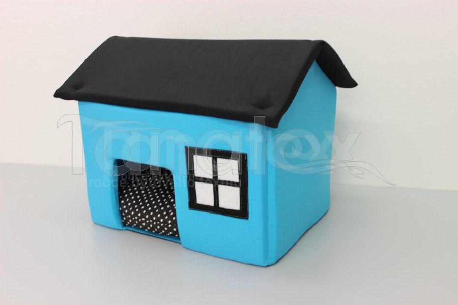 Domek Mini - tyrkysový s černou střechou - Pelechy pro psy a kočky Pelechy Domeček mini - pro fretky