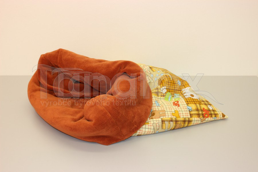 Chumlací Pytel - vel. xxl - pejsek a kostička s ořechovou - Pelechy pro psy a kočky Chumlací pytle Chumlací pytel velký