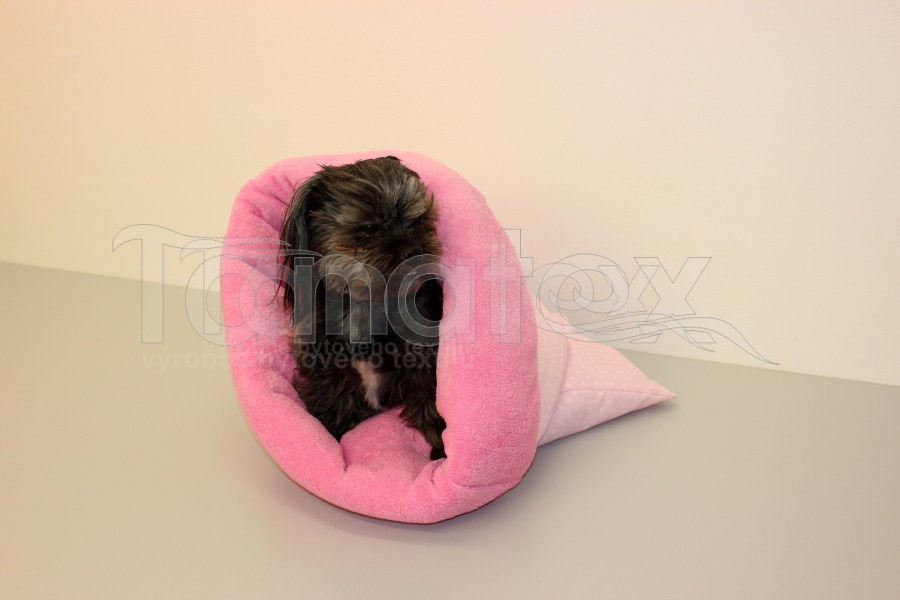 Chumlací Pytel - vel. l - růžový puntíček s růžovou - Pelechy pro psy a kočky Chumlací pytle Chumlací pytel malý