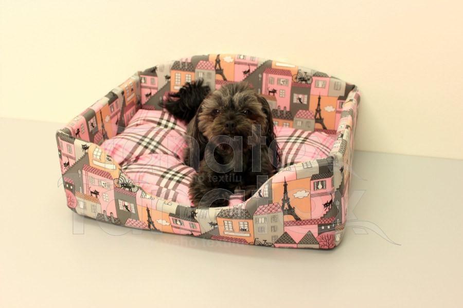 Pelech Klasik - domov růžový - vel. l 60x40 - Pelechy pro psy a kočky Pelechy Klasik bavlněný bavlněný velký 40x60cm