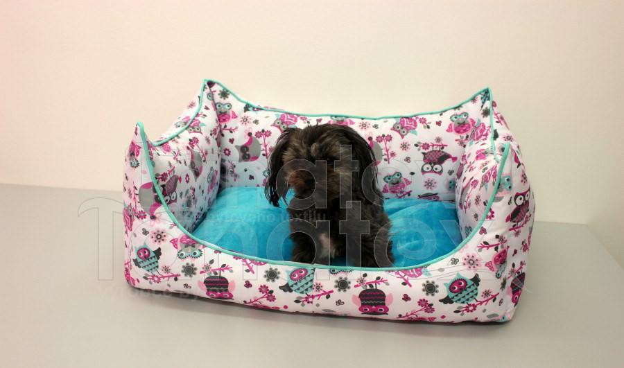Lodička Sovičky růžové - pelíšek pro pejska - Pelechy pro psy a kočky Pelechy Lodička