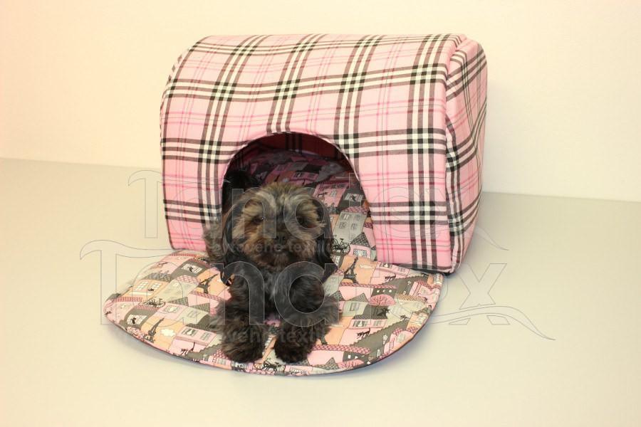 Tunel Klasik - růžová kostička - Pelechy pro psy a kočky Pelechy Tunel klasik - bavlněný