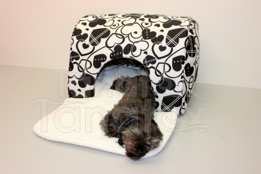 Tunel Lux - černobílá srdíčka - Pelechy pro psy a kočky Pelechy Tunel luxus - omyvatelný