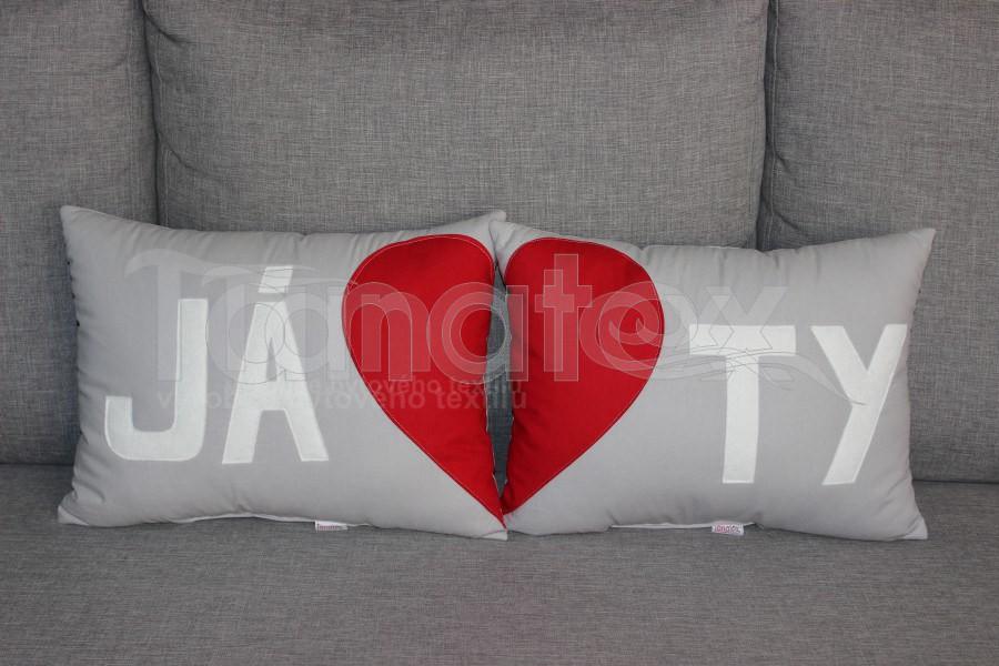 Polštářek Já - šedý - Polštářky Srdce a pro zamilované