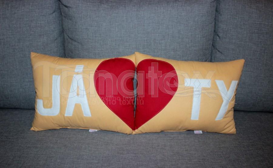 Polštářek Ty - pískový - Polštářky Srdce a pro zamilované