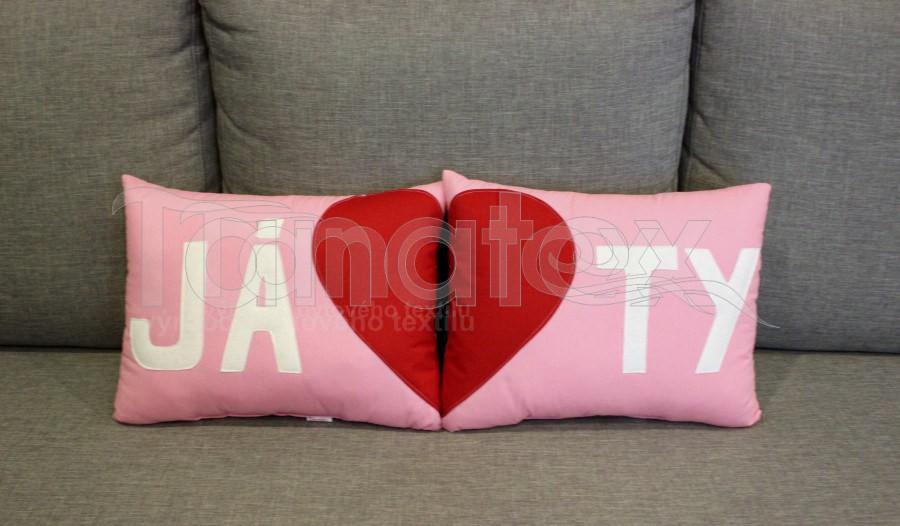 Polštářek Já - růžový - Polštářky Srdce a pro zamilované