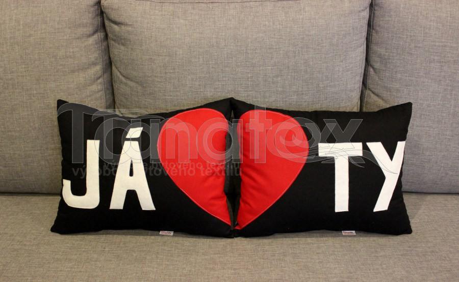 Polštářek Ty - černý - Polštářky Srdce a pro zamilované