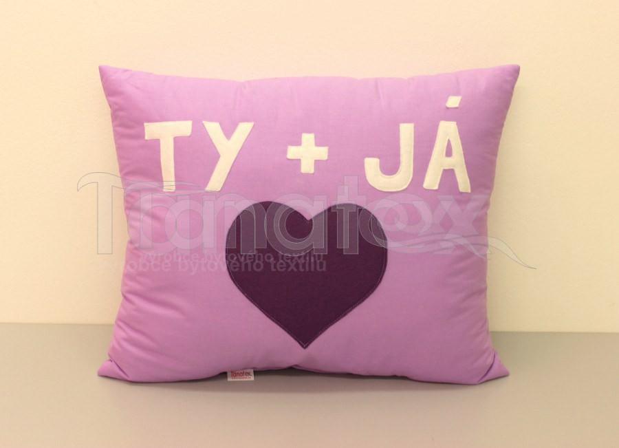 Polštář Ty a já - fialový - Polštářky Srdce a pro zamilované