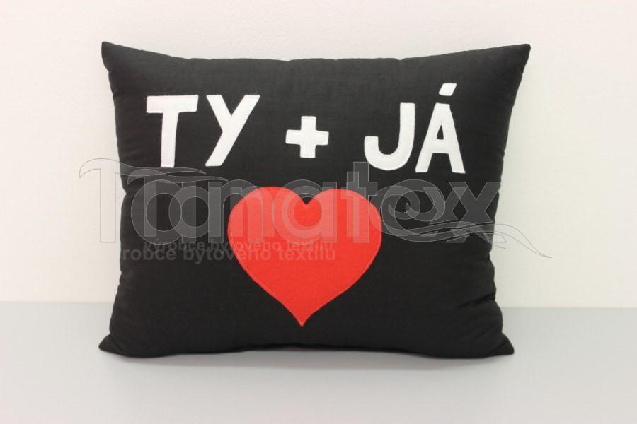 Polštář Ty a já - černý - Polštářky Srdce a pro zamilované