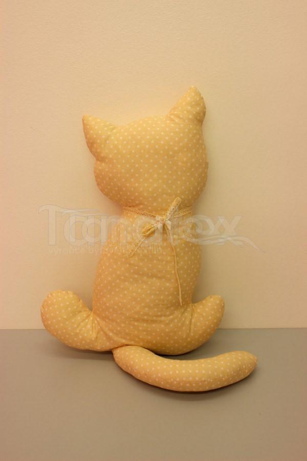 Polštářek Kočka béžová s puntíčkem - Polštářky Zvířátka