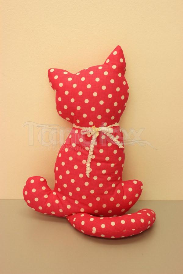 Polštářek Kočka růžová s puntíkem - Polštářky Zvířátka