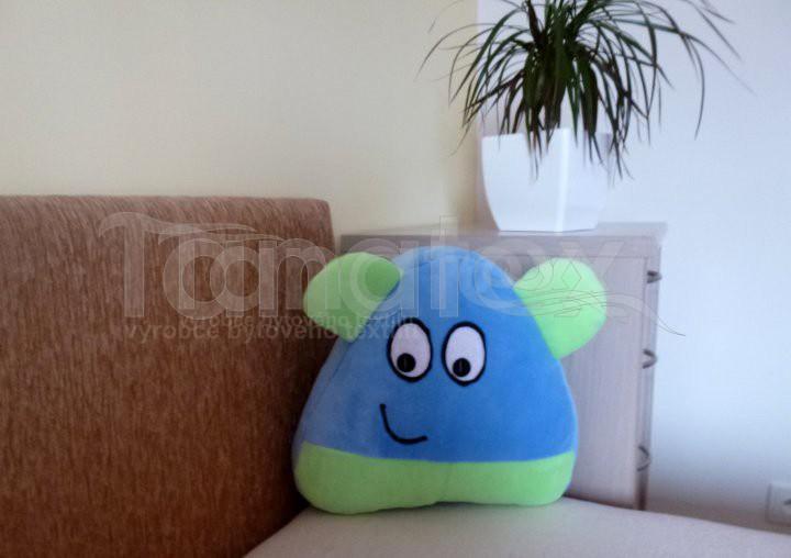 Polštářek Mikro pou s ušima - modrý se zelenou - Polštářky Polštář POU Pou polštářek malý Pou malý - klasik