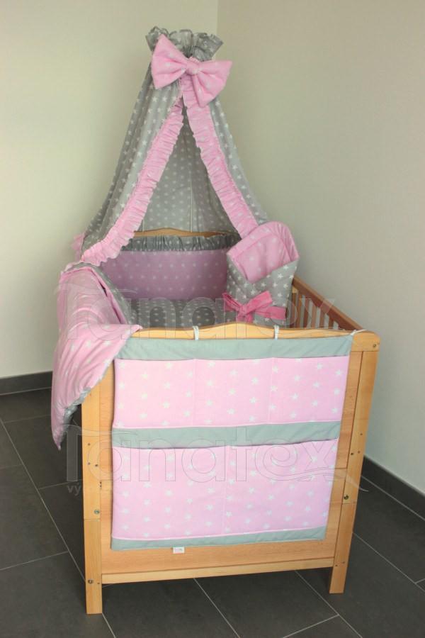 Povlečení Do postýlky hvězdičky růžové - šedé 90x120 - Pro děti a miminka Povlečení pro děti a pro miminka do postýlky 90x120