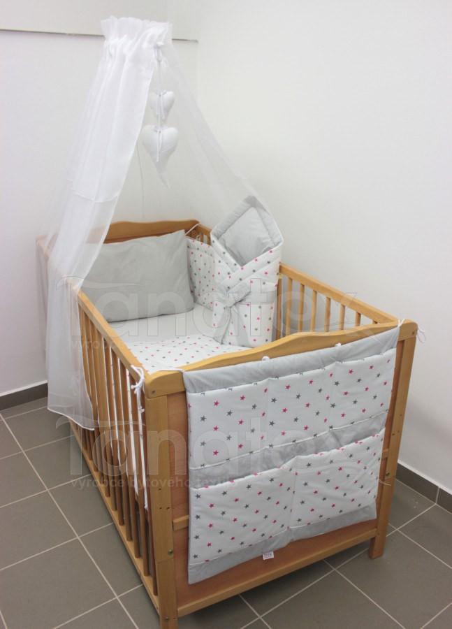 Povlečení Do postýlky hvězdičky kombi růžové + šedé - šedý proužek 90x120 - Pro děti a miminka Výbava pro miminko Povlečení pro miminka do postýlky 90x120