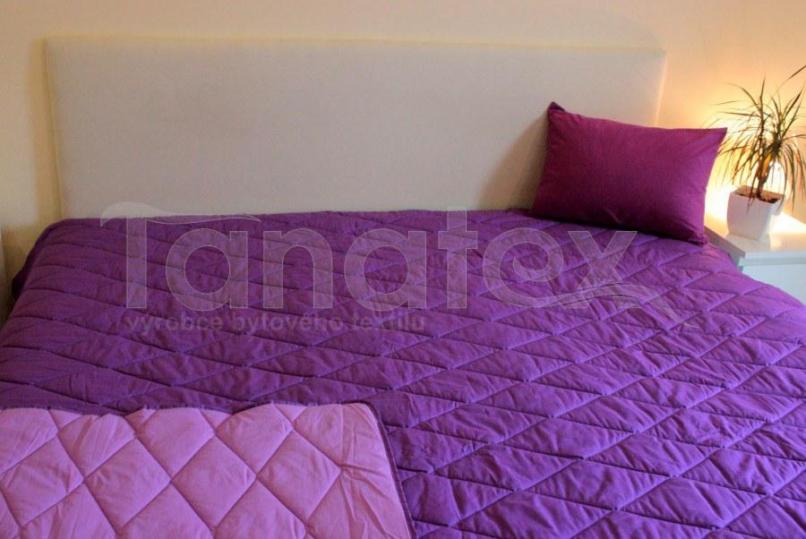 Přehoz 100% bavlna uni fialový - tmavě fialový 140x220 - Přehoz na postel a deky Přehozy přehoz na jednolůžko
