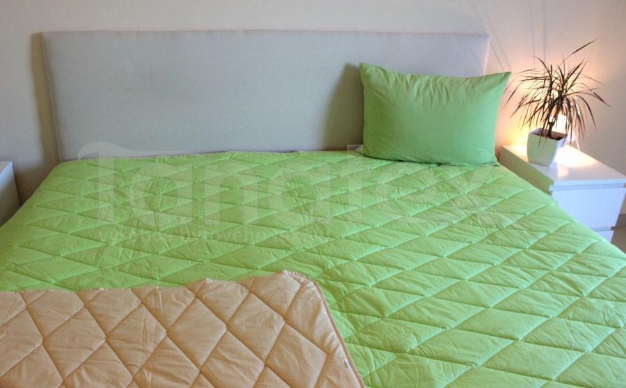 Přehoz 100% bavlna - uni zelený - béžový