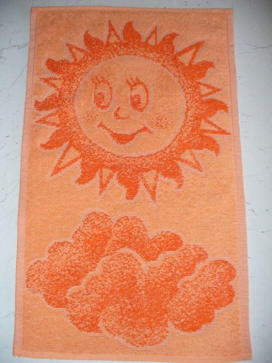 Ručník 30x50 sluníčko oranžové - Pro děti a miminka Ručník do školy a školky