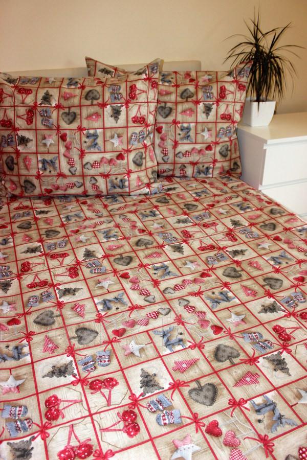 Povlečení Vánoční béžové 140x220 - Vánoce Povlečení na Vánoce 140x220