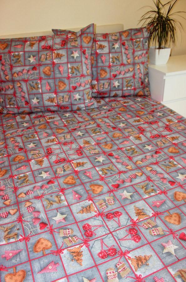 Povlečení Vánoční šedé 200x240 - Vánoce Povlečení na Vánoce 200x240