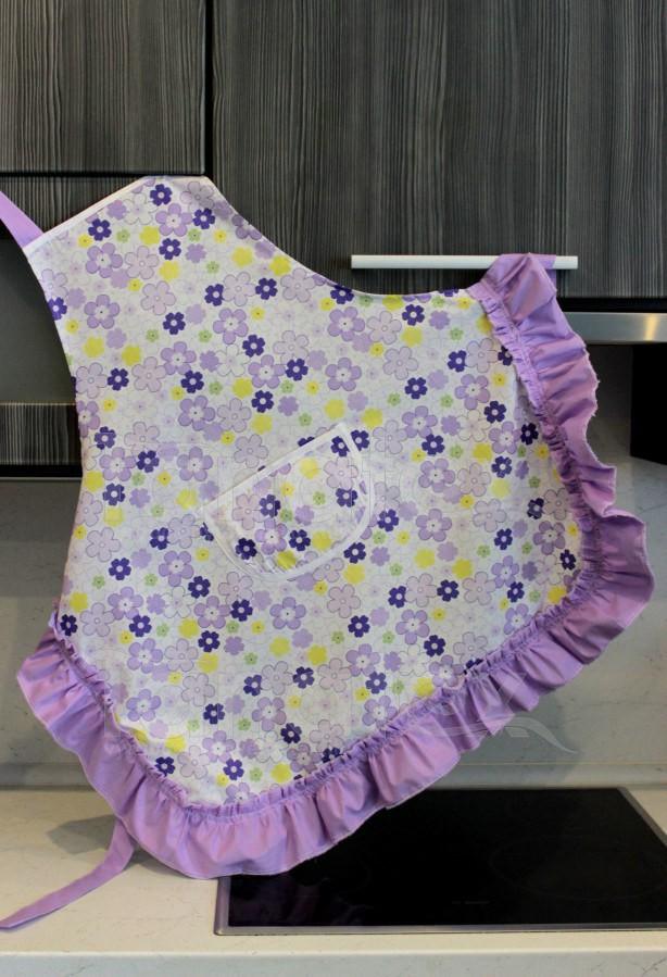 Zástěra S kanýrem - květinky fialové - Utěrky, chňapky, zástěry Zástěry a zástěrky Kuchařská zástěra pro dospělé zástěra s kanýrem