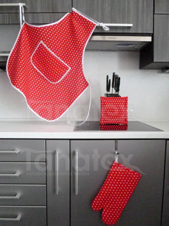 Zástěra Červený puntík - Utěrky, chňapky, zástěry Zástěry a zástěrky Kuchařská zástěra pro dospělé zástěra klasik