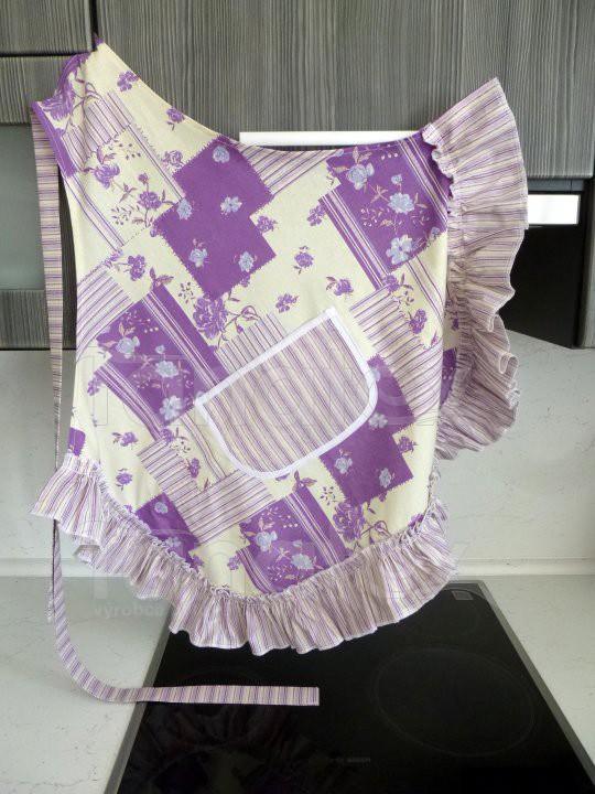 Zástěra S kanýrem - patchwork fialový - Utěrky, chňapky, zástěry Zástěry a zástěrky Kuchařská zástěra pro dospělé zástěra s kanýrem