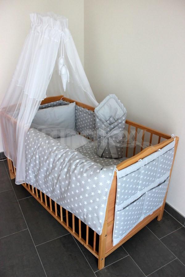 Kapsář Na postýlku hvězdičky šedé - šedý proužek - Pro děti a miminka Výbava pro miminko Kapsář k postýlce