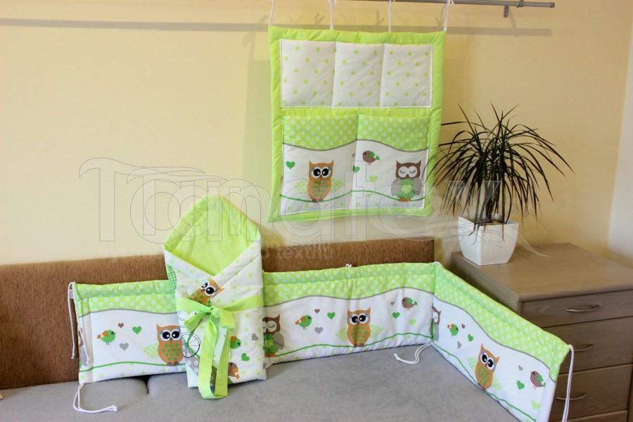 Kapsář Na postýlku zelené sovičky - Pro děti a miminka Výbava pro miminko Kapsář k postýlce