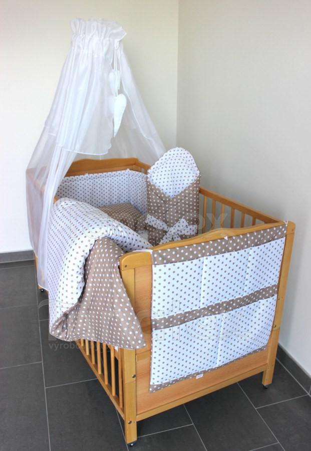 Mantinel Do postýlky 120x60 - kombinace béžových puntíků - Pro děti a miminka Výbava pro miminko Mantinely a nebesa Mantinel do postýlky Mantinel 120x60