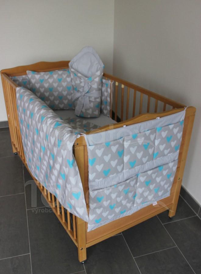 Kapsář Na postýlku srdíčka s šedým proužkem - Pro děti a miminka Výbava pro miminko Kapsář k postýlce