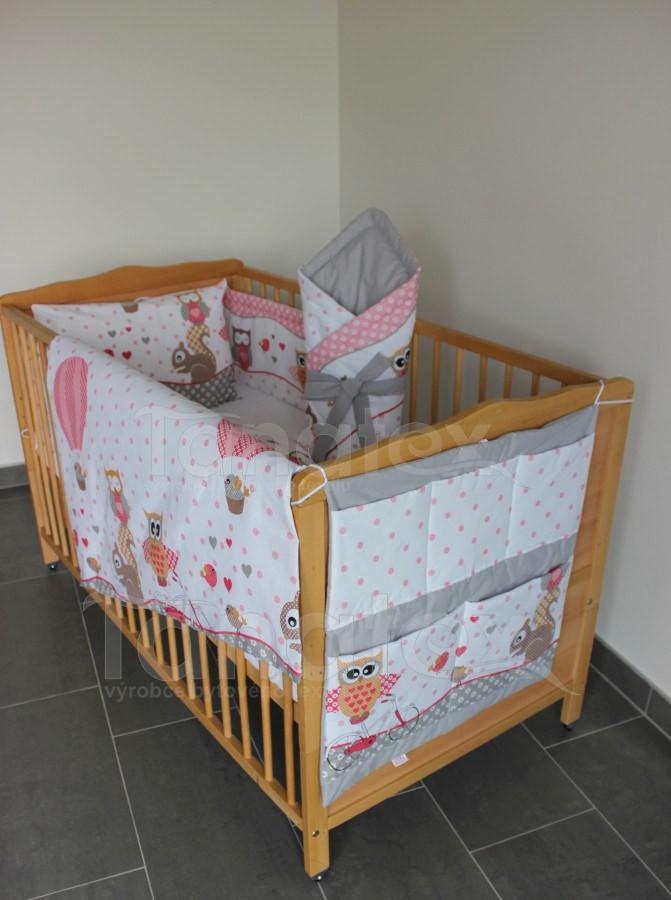 Kapsář Na postýlku sovičky růžové s uni šedou - Pro děti a miminka Výbava pro miminko Kapsář k postýlce