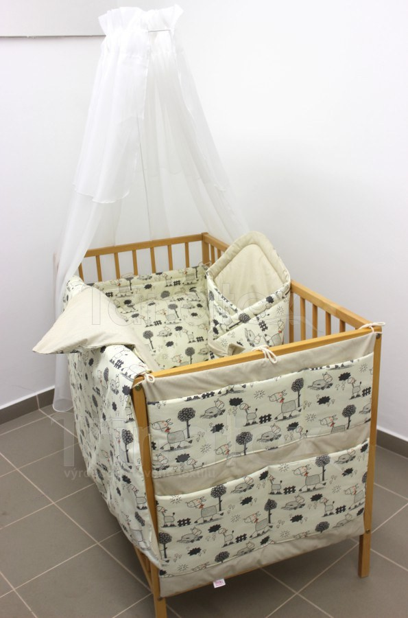Povlečení Do postýlky žirafky šedé - béžový proužek 90x130 - Pro děti a miminka Výbava pro miminko Povlečení pro miminka do postýlky 90x130