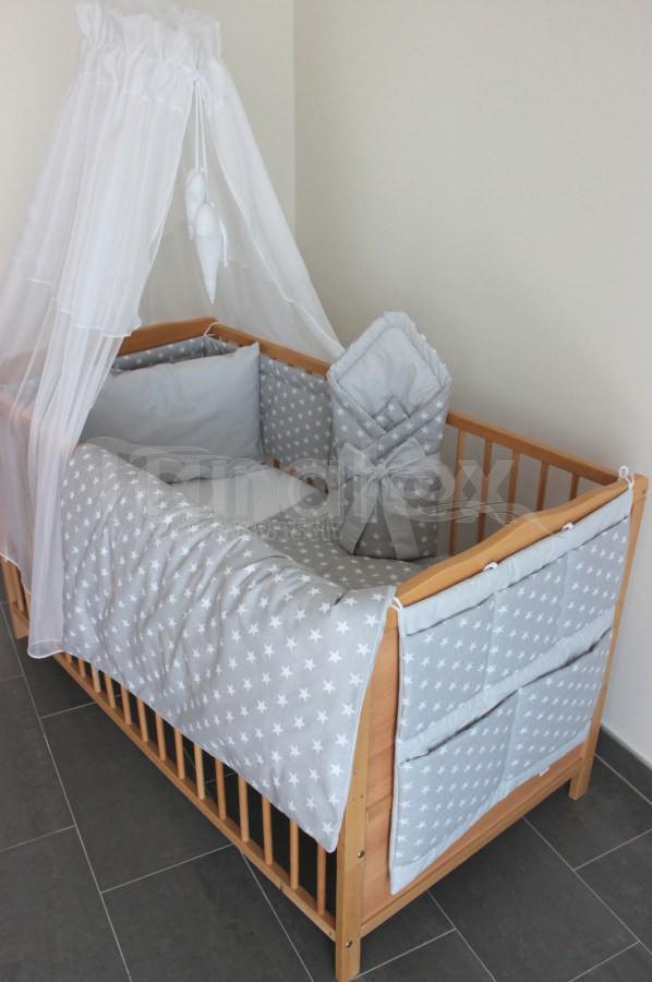 5 Ti dílná sada hvězdičky šedé - šedý proužek - Pro děti a miminka Výbava pro miminko Zvýhodněné sady pro miminko