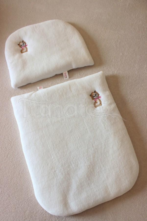 Peřinky Do kočárku - bílý mikroplyš + béžový puntíček bavlna - Pro děti a miminka Výbava pro miminko Do kočárku Přikrývka a polštářek 100% mikroplyš + 100% Bavlna