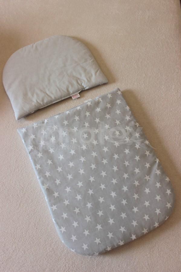 Peřinky Do kočárku - bavlněné - šedá hvězdička - Pro děti a miminka Výbava pro miminko Do kočárku Přikrývka a polštářek 100% Bavlna
