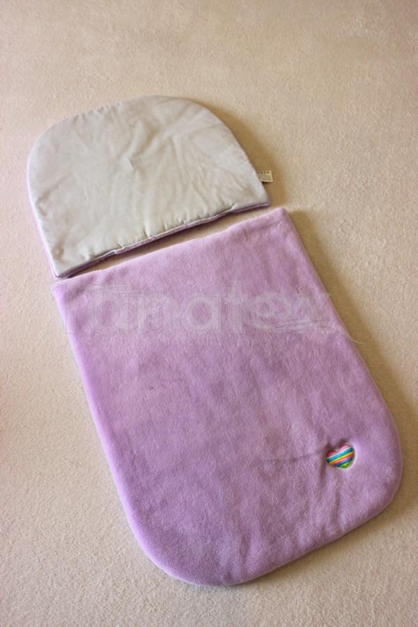 Peřinky Do kočárku - fialkový mikroplyš + šedý proužek bavlna - Pro děti a miminka Výbava pro miminko Do kočárku Přikrývka a polštářek 100% mikroplyš + 100% Bavlna