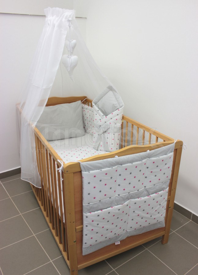 5 Ti dílná sada hvězdičky šedé a růžové - šedý proužek - Pro děti a miminka Výbava pro miminko Zvýhodněné sady pro miminko