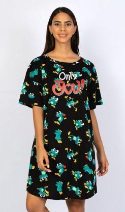 Dámská noční košile s krátkým rukávem Žába - Pyžama a župany Noční košile Dámská noční košile krátký rukáv