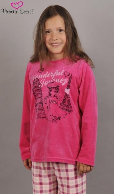 Dětské pyžamo dlouhé Dívka na cestách - Pyžama a župany Pyžama Dětské pyžamo velur, polar, soft